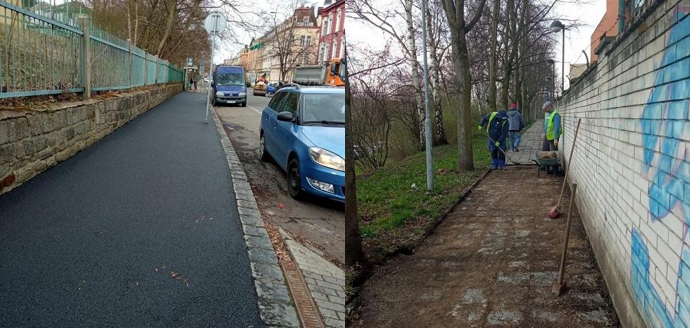 Karlovy Vary opravují chodníky a pracovat se bude i na vozovce Chebského mostu